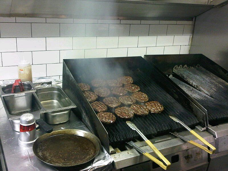 Cooking burgers